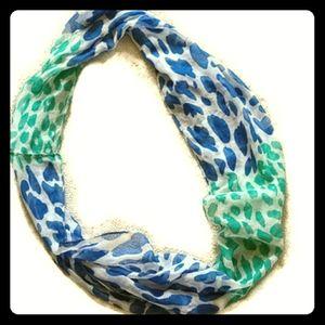 Women's  blue &teal animal print infinity scarf